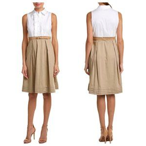 NWT Eliza J Nordstroms Belted Tan White Dress